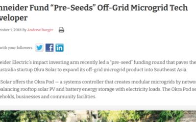 """Schneider Fund """"Pre-Seeds"""" Off-Grid Microgrid Tech Developer"""